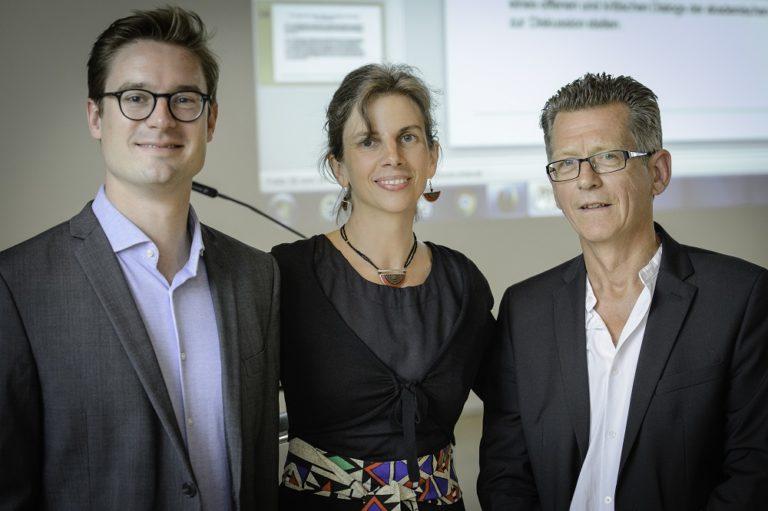 Preisträger Jun. Prof. Dr. Nicolas Detering, Prof. Dr. Kirsten Mahlke, Prof. Dr. Albrecht Koschorke